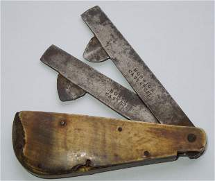 Civil War Bloodletter Fleam  2 Blade Surgical Tool Horn