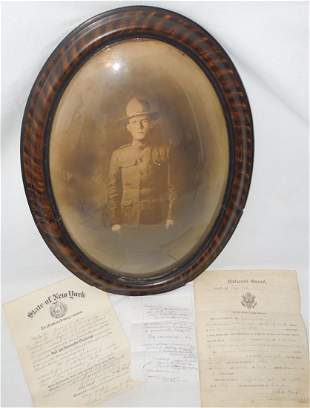 WWI Framed US Army Died in Service Photo & Documents NY