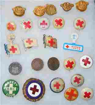 WWI - WWII American Red Cross ARC, Pins, Buttons Lot