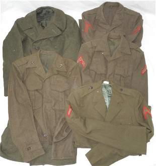 Lot of 5 WWII - 50s USMC Uniforms & Overcoat Named