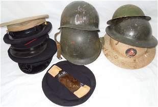 WWII - Vietnam US M-1 Helmets USMC Visor Caps Lot