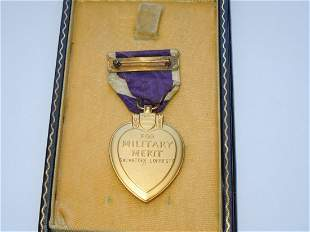 WWII Named Engraved US Army Purple Heart Medal