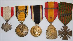 WWI WWII Military Medals Belgium France US Japan