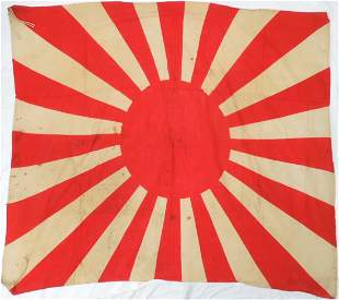 WWII Japanese Army Rising Sun Flag Captured at Okinawa