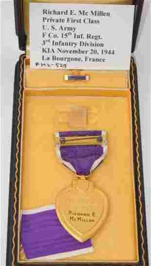 WWII KIA 3rd Infantry Div Named Purple Heart Medal