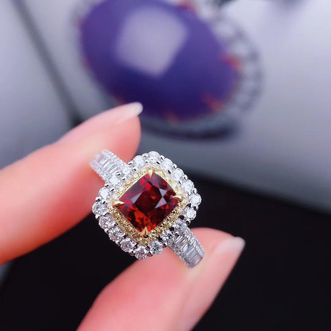 Red ruby ring without burning pigeon blood