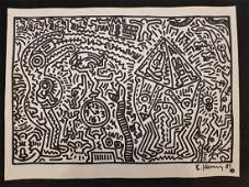 Keith Haring drawing on paper