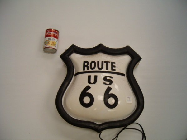 2: PLASTIC LIGHT-UP ROUTE 66 SIGN