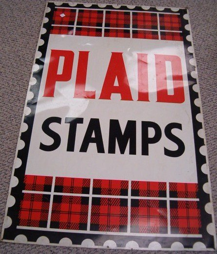 6: CONTEMPORARY TIN PLAID STAMPS SIGN 60 X 36