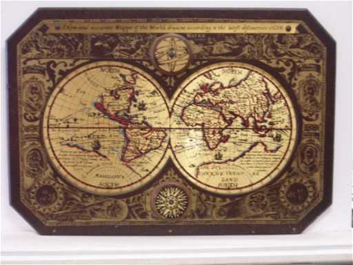 60: WOODEN AND METAL 1628 WORLD MAP REPLICA 44 X 31 AND