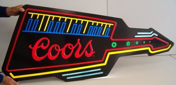 1006: BACKLIT COORS GUITAR SIGN (WORKS) (CAMPBELL'S CAN