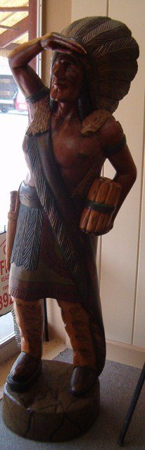 1108: 6 FT. WOODEN CIGAR STORE INDIAN (CAMPBELL'S CAN N