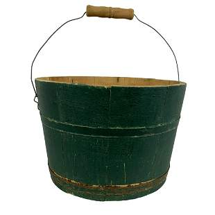 Green Painted Staved Bucket