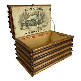 Log Cabin Cigar Box With Original Label