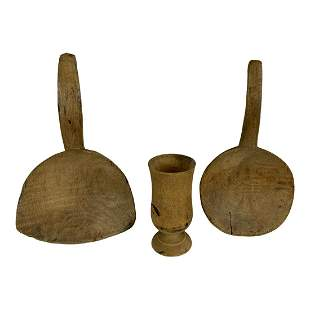 Lot of Wooden Ware (2 Maple Spoons & Jar)