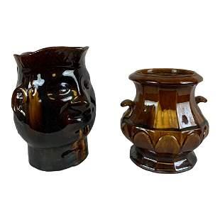 Pair of Rockingham Pottery Pieces