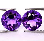 Purple Amethyst 14 MM Round Faceted Cut Pair
