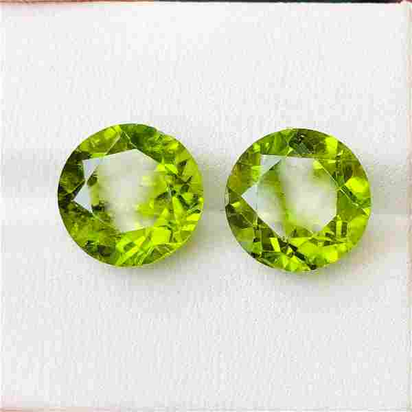 Natural Peridot 10 MM Round Faceted Cut 2 Pieces
