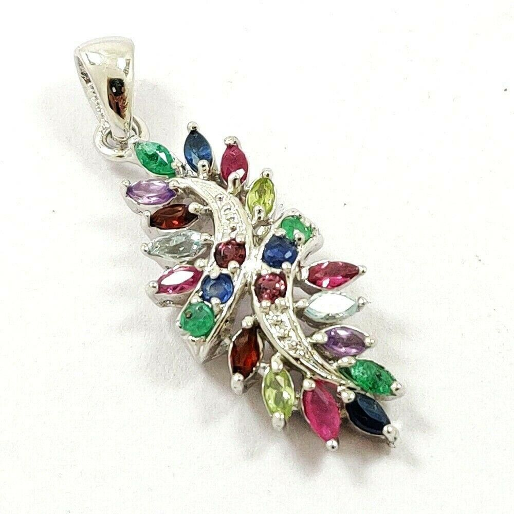 NATURAL MULTI GEMSTONE 925 STERLING SILVER PENDANT