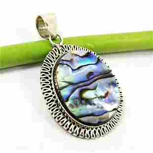 ABALONE SHELL GEMSTONE 925 STERLING SILVER PENDANT