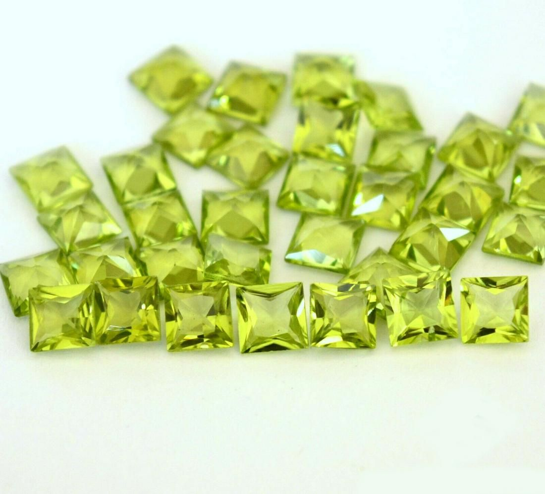Natural Peridot 3x3 MM Square Faceted Cut 50 Pieces