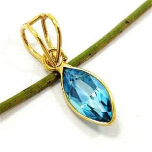 NATURAL BLUE TOPAZ 14 KT YELLOW GOLD HANDMADE PENDANT