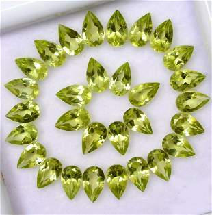 Natural Peridot 6x4 MM Pear Faceted Cut 100 Pieces