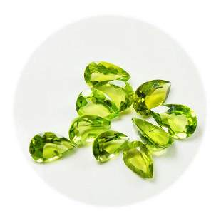 Natural Peridot 8x11 MM Pear Faceted Cut 20 Pieces