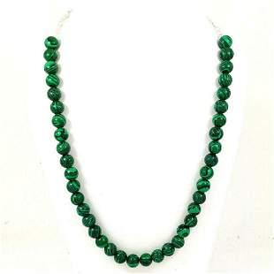 Malachite 10 MM Round Beads Necklace