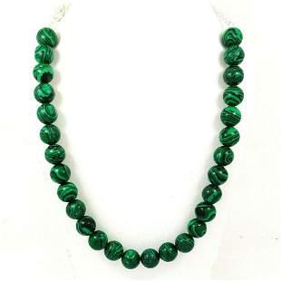 Malachite Gemstone 14 MM Round Beads Necklace