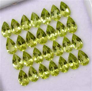 Natural Peridot 6x4 MM Pear Faceted Cut 250 Pieces