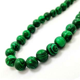 Malachite 12 MM Round Beads Necklace