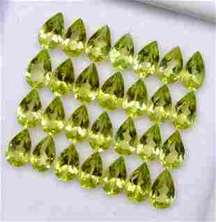 Natural Peridot 6x4 MM Pear Faceted Cut 50 Pieces
