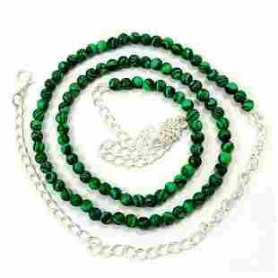 Malachite 4 MM Round Beads Necklace