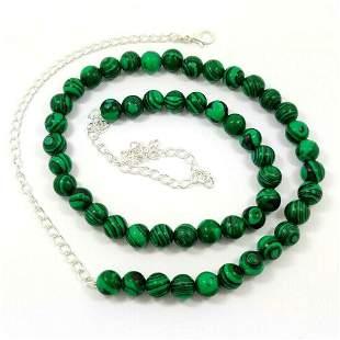Malachite 8 MM Round Beads Necklace