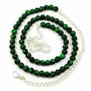 Malachite 6 MM Round Beads Necklace