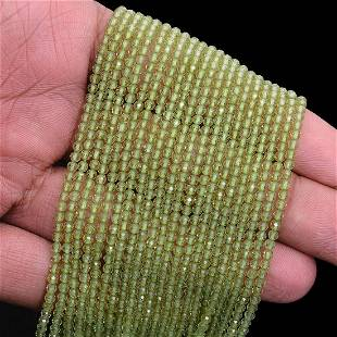 Peridot Rondelle 3 MM Micro Round Faceted Beads 10