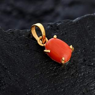 NATURAL RED CORAL 14 KT YELLOW GOLD PENDANT