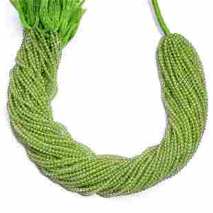 Peridot Rondelle 2 MM Micro Round Faceted Beads 10