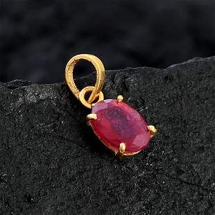 NATURAL RUBY 14 KT YELLOW GOLD PENDANT