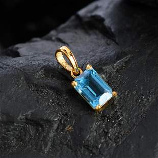 NATURAL BLUE TOPAZ 14 KT YELLOW GOLD PENDANT