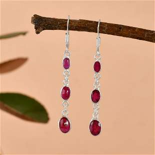 NATURAL RUBY GEMSTONE 92.5 STERLING SILVER EARRING