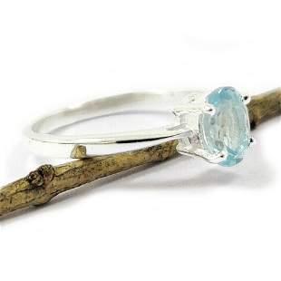 BLUE TOPAZ GEMSTONE STERLING SILVER RING