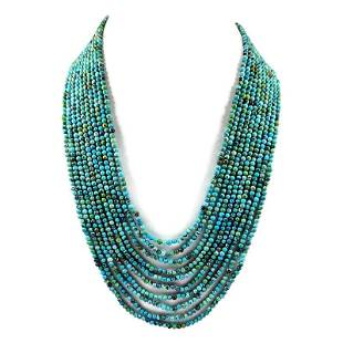 Turquoise 3 MM Round Plain Beads Necklace 10 Strand