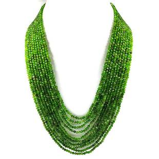 Chrome Diopside 3 MM Round Faceted Beads Necklace 10