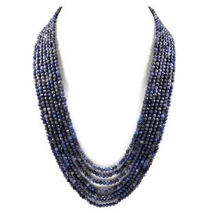 Blue Sapphire 2 MM Round Faceted Beads Necklace 7