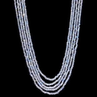 Rainbow Moonstone 3 MM Round Faceted Beads Necklace 5