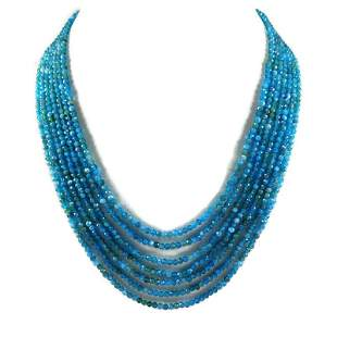 Apetite 2 MM Round Faceted Beads Necklace 7 Strand
