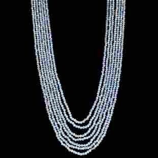 Aquamarine 2 MM Round Faceted Beads Necklace 7 Strand