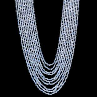 Rainbow Moonstone 2.5 MM Round Faceted Beads Necklace